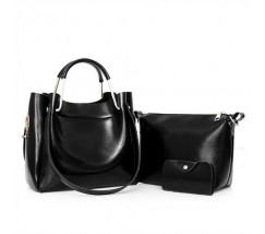 Жіноча сумка 3в1 середнього розміру чорна
