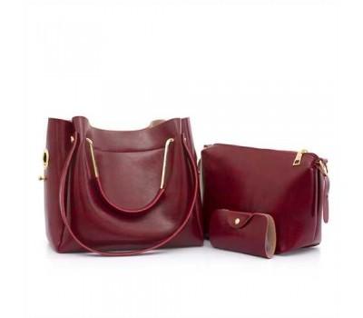 Женская сумка 3в1 среднего размера бордовая