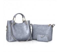 Жіноча сумка 3в1 середнього розміру сіра