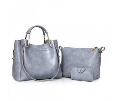 Женская сумка 3в1 среднего размера серая