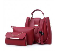 Набір жіночих сумок 3в1 бордовий з кісточками