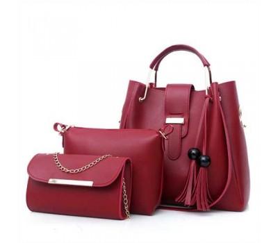 Набор женских сумок 3в1 бордовый с кисточками