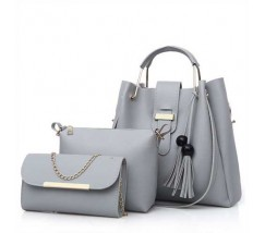Набор женских сумок 3в1 серый с кисточками