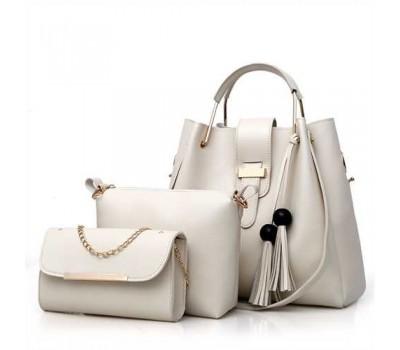 Набор женских сумок 3в1 бежевый с кисточками