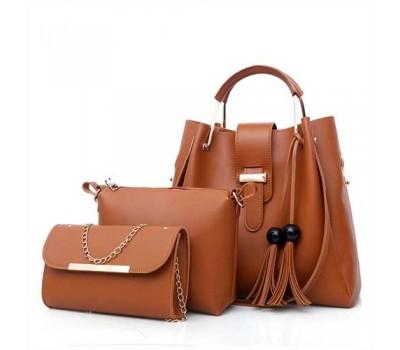 Набор женских сумок 3в1 коричневый с кисточками