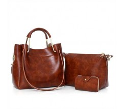 Жіноча сумка 3в1 середнього розміру коричнева