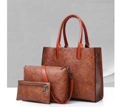 Жіноча сумка з екошкіри набір 3в1 коричнева