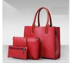 Жіноча сумка з екошкіри набір 3в1 червона