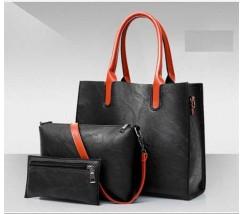Жіноча сумка з екошкіри набір 3в1 чорна