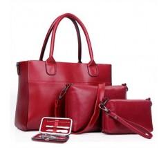 Женская сумка набор 3в1 + маникюрный набор красный