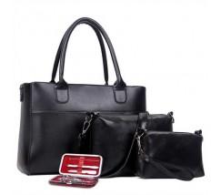 Женская сумка набор 3в1 + маникюрный набор черный