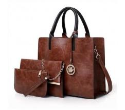 Жіноча сумка з екошкіри набір 3в1 з брелком коричнева
