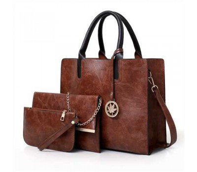 Женская сумка из экокожи набор 3в1 с брелочком коричневая