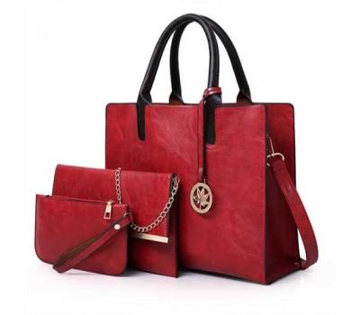 Женская сумка из экокожи набор 3в1 с брелочком красная