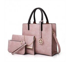 Женская сумка из экокожи набор 3в1 с брелочком розовая