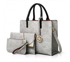 Женская сумка из экокожи набор 3в1 с брелочком серая