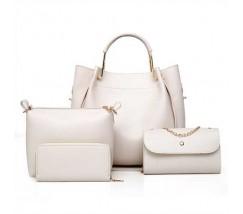 Набір жіночих сумок 4в1 з екошкіри білий