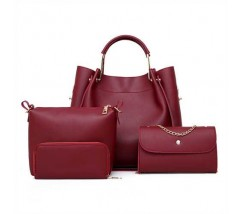 Набор женских сумок 4в1 из экокожи бордовый