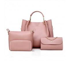 Набор женских сумок 4в1 из экокожи розовый