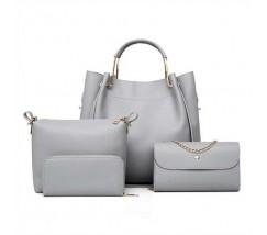 Набір жіночих сумок 4в1 з екошкіри сірий