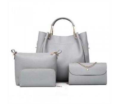 Набор женских сумок 4в1 из экокожи серый