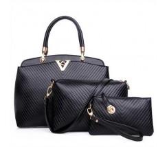 Жіноча сумка набір 3в1 чорна