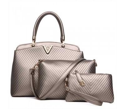 Женская сумка набор 3в1 золотая