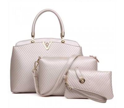 Женская сумка набор 3в1 бежевая