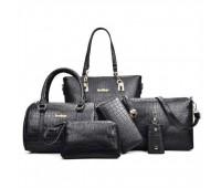 Жіноча сумка набір 6в1 чорного кольору