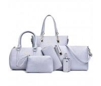 Женская сумка набор 6в1 голубого цвета