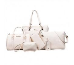 Жіноча сумка набір 6в1 молочного кольору
