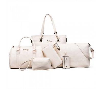 Женская сумка набор 6в1 молочного цвета