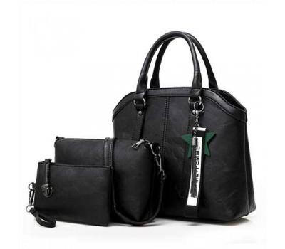Набор чорных сумок 3в1 с брелком