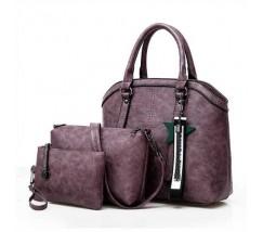 Набір фіолетових сумок 3в1 з брелоком
