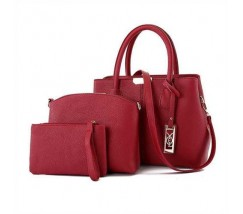 Красная женская сумка набор 3в1
