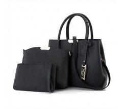 Черная женская сумка набор 3в1