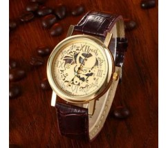 Годинник з відкритим механізмом Скелетон коричневий