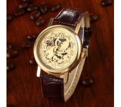 Часы с открытым механизмом Скелетон коричневые