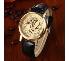 Годинник з відкритим механізмом Скелетон чорний