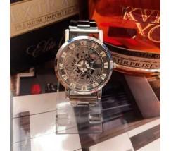 Металевий чоловічий годинник з відкритим механізмом