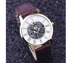 Часы мужские наручные Skeleton коричневые