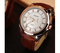 Чоловічий наручний годинник Yazole коричневий