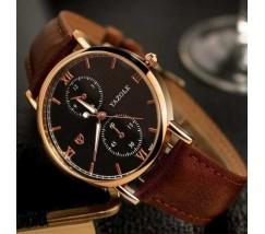 Стильний чоловічий наручний годинник Yazole коричневий
