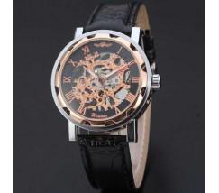 Чоловічий механічний годинник Winner Skeleton чорний