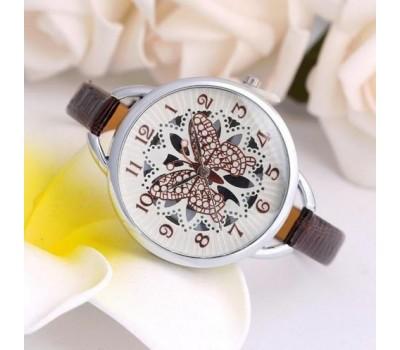 """Наручные часы женские """"Бабочка"""" коричневые"""