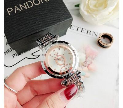 Женские часы Pandora серебро с розовым
