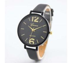 Тонкие женские часы Geneva черные
