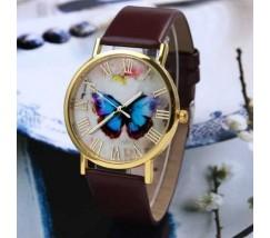 Часы женские наручные с бабочкой коричневые