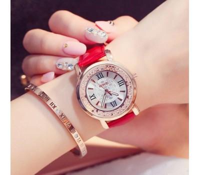 Красивые женские часы красные