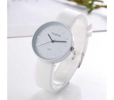 Силиконовые женские часы белые